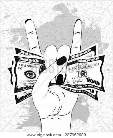 Heavy Metal Hand Gesture With Clutched Currency Usa. Rock-n-roll Sign With Crumpled Money On Texture