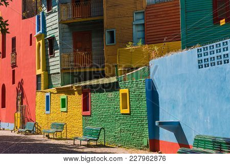 Colorful Area In La Boca Neighborhoods In Buenos Aires. Street Is A Major Tourist Attraction & The A