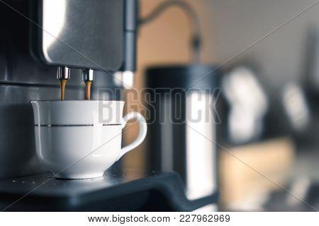 Preparation Of Coffee Espresso With Coffee Machine, Copy Space
