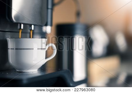 Automatic Espresso Machine Making Coffee, Copy Space