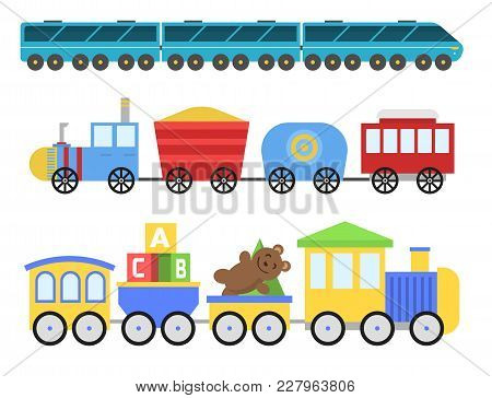Cartoon Toy Train With Colorful Blocks Isolated Over White Vector Set. Railroad And Cartoon Carriage