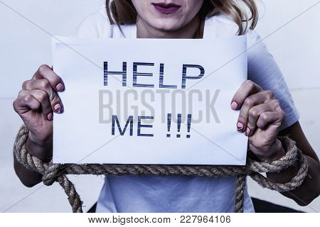 Woman With Tied Up Hands Asking For Help (body Language, Gestures, Psychology Concept)