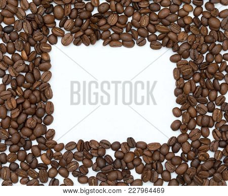 Coffee Flat Lay: An Empty White Background Square Surrounded By Coffee Beans, Perfect For Messages,