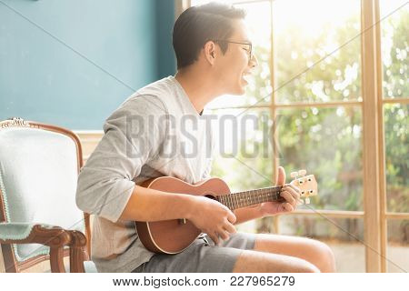Asian Young Man Hands Playing Acoustic Guitar Ukulele At Home. Enjoy Playing Acoustic Guitar Sunshin