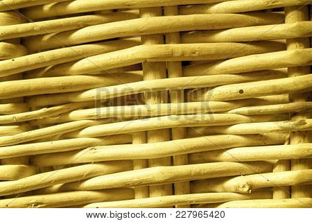 Orange Wicker Bamboo, Rattan Fence, Background, Texture For Web Site Or Mobile Devices.