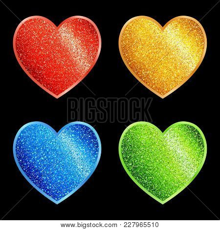 Set Of Isolated Stylized Glittering Hearts Of Different Colors. Decorative Design Elements Blue, Gre