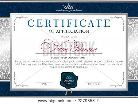 Certificate In The Official, Solemn, Elegant, Royal Style In Blue And Silver Tones, With The Image O