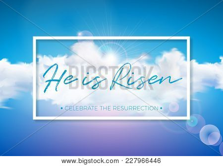 Easter Holiday Illustration With Cloud On Blue Sky Background. He Is Risen. Vector Christian Religio