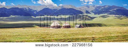 Yurts On The Mountain Plateau Of Assy. Almaty Region, Kazakhstan.