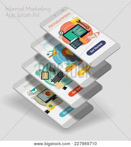 Flat Design Responsive Internet Marketing Ui Mobile App Splash Screens Template With Trendy Illustra