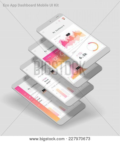 Flat Design Responsive Management And Administration Dashbord Ui Mobile App Template, With 3d Smartp