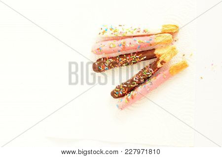 Sweet Chocolate Stick On White Background.  Fatty Foods.