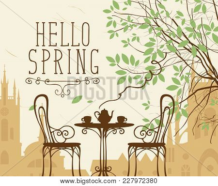 Vector Landscape In Retro Style On The Spring Theme With The Words Hello Spring, Furnished Outdoor C