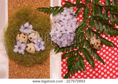 Easter Eggs In Nest  With Flower Of Hyacinthlaying On Rustic Red Napkin