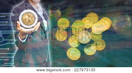 Business Woman Holding Bitcoin With Bitcoin Background In Concept Electronic Money