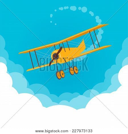 Retro Biplane In The Cloudy Sky. Yellow Airplane Flying In A Blue Sky. Flat Vector Illustration