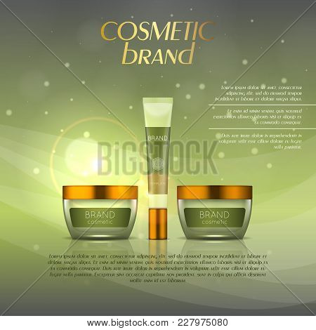 Vector 3d Cosmetic Illustration On A Soft Light Background With Flare Effects. Beauty Realistic Cosm