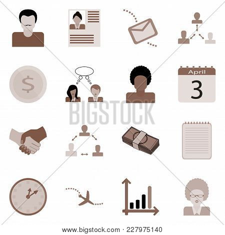 Business Icons Set. Web Collection Of Work Concept. Sign For Revenue Vector Illustration.