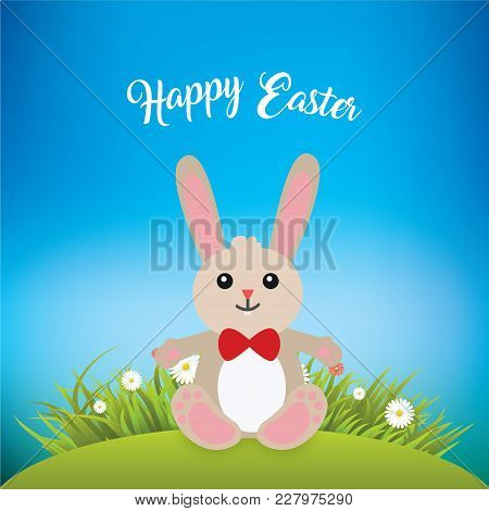 Cute Easter Bunny Smilling And Greeting For Easter Over Grassy Plains And Gradient Background