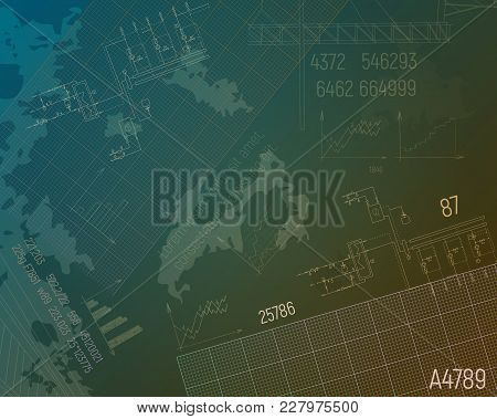 Gas Condensing Boiler On The Blueprint. Heating System Vector Illustration. Graph Paper, Text, Numbe