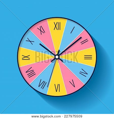 Colorful Clock Icon In Flat Style With Roman Numerals. Minimalistic Timer On Color Background. Busin