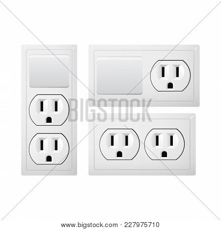 Electrical Socket Type B With Switch. Power Plug Vector Illustration. Realistic Receptacle From Usa