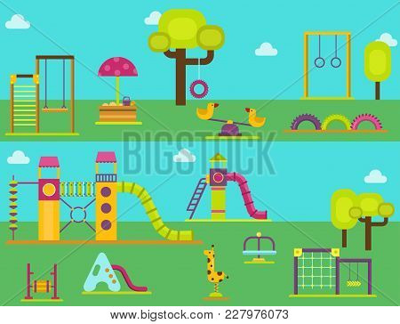Children Playground Fun Childhood Play Park Activity Flat Swing Vector Illustration. Happy Outdoor S