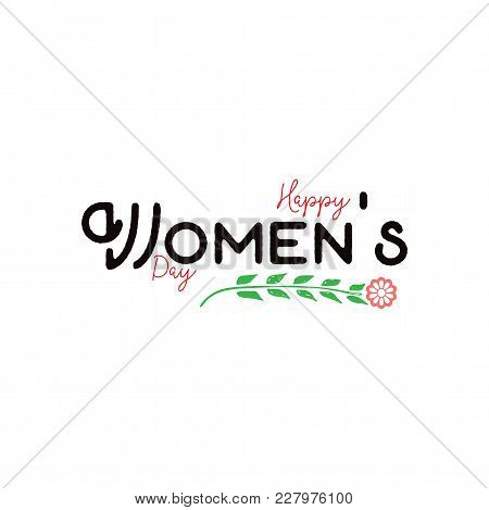 Happy Women's Day. Minimalist Design - Badge, Sticker, For Gifts For The Spring Holiday, For Postcar