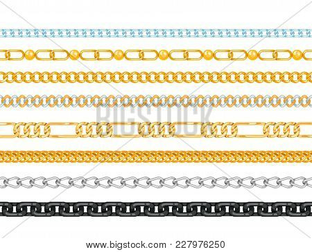 Chains Link Strength Connection Vector Seamless Pattern Of Metal Linked Parts And Iron Equipment Pro
