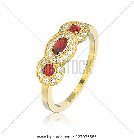 3d Illustration Isolated Three Ruby Stone Solitaire Engagement Ring With Reflection On A White Backg