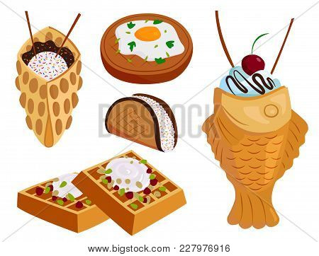Different Wafer Cookies Waffle Cakes And Chocolate Pastry Cookie Biscuit Delicious Snack Cream Desse