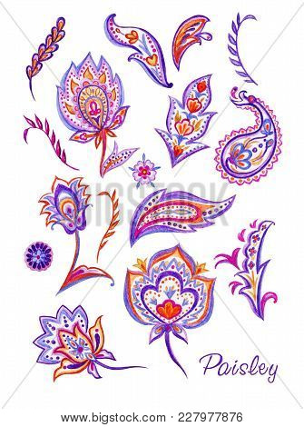 Set Of Paisley, Watercolor Painting On White Background.