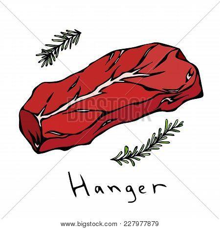 Most Popular Steak Hanger. Beef Cut. Meat Guide For Butcher Shop Or Steak House Restaurant Menu. Han
