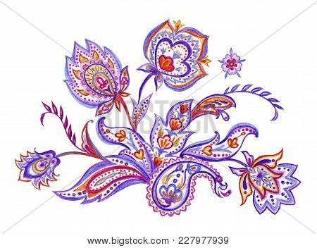 Bouquet, Vignette Of Paisley Patterns, Watercolor Pattern On A White Background.