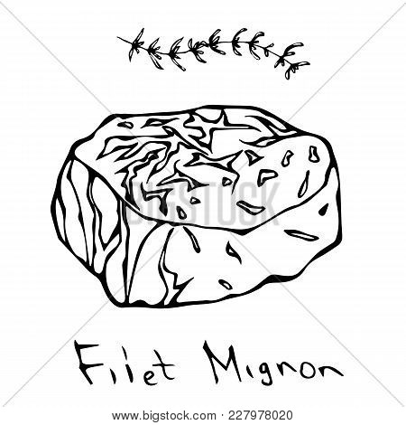 Most Popular Steak Filet Mignon. Beef Cut. Meat Guide For Butcher Shop Or Steak House Restaurant Men