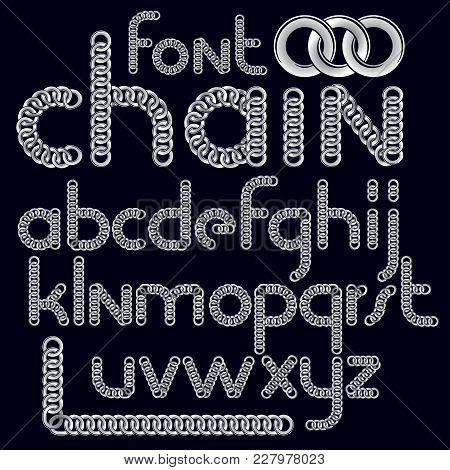 Vector Script, Modern Alphabet Letters Set. Lower Case Decorative Font Created Using Connected Chain