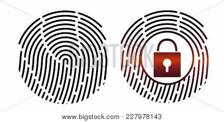 Fingerprint. Vector Illustration. Security System Digital Lock Icon