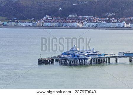 Llandudno Popular Victorian Syle Pier At Bright Sunny Day. North Wales In United Kingdom