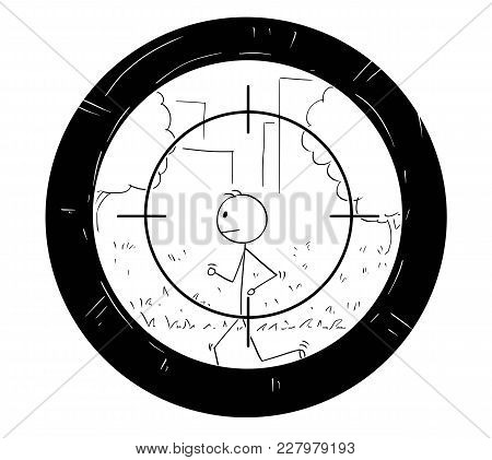 Cartoon Stick Man Drawing Conceptual Illustration Of Jogging Or Running Man Being Targeted By Scope