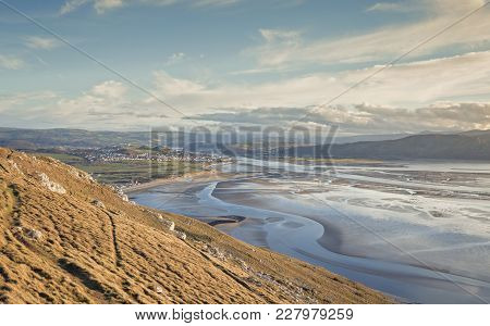 View From The Top Of Great Orme Hill Over Llandudno Bay At Low Tide. North Wales In Uk
