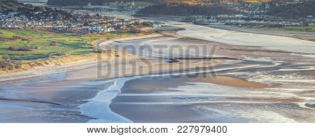 Panoramic View Over Sandy Bay Of Llandudno At Low Tide. North Wales In Uk