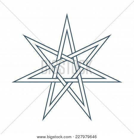 Seven Point Star Or Septagram, Known As Heptagram. Elven Or Fairy Star, Magical Or Wiccan Witchcraft