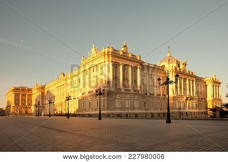Palacio Real (royal Palace) At Plaza De Oriente In Madrid, Spain