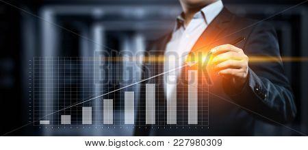 Financial Graph. Stock Market Chart. Forex Investment Business Internet Technology Concept.