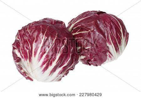 Two Big Radicchio With Contrast Colour In Full Size. High Resolution Photo.