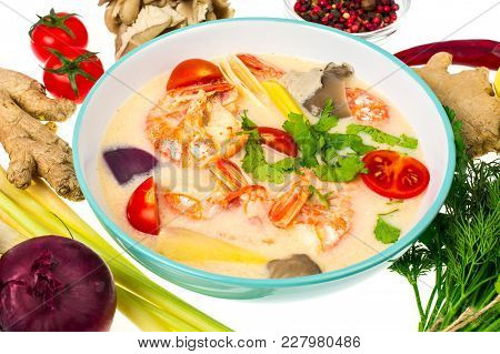Popular Thai Tom Yam Soup With Prawns And Vegetables On White Background. Studio Photo