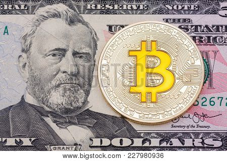 Golden Cruptocurrency Yellow 'bitcoin On Fifty Dollar Banknote B