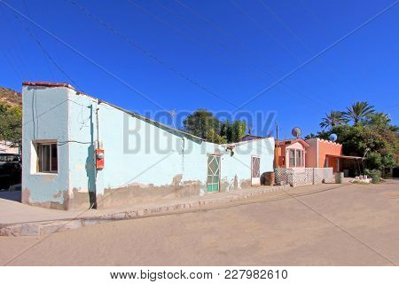 Colorful Traditional Houses In The Streets Of The Mission San Ignacio, Baja California Sur, Mexico