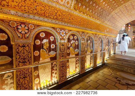 Kandy, Sri Lanka - Jan 6, 2018: Ancient Fresco Inside The 16th Century Temple Of Sacred Tooth, Unesc