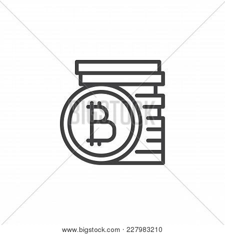 Bitcoins Stack Outline Icon. Linear Style Sign For Mobile Concept And Web Design. Stacked Cryptocurr